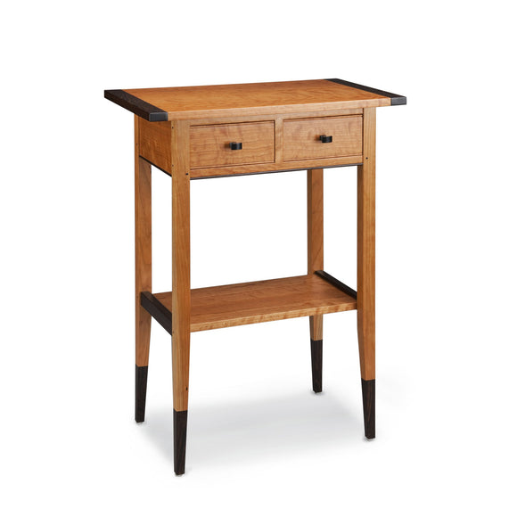 Thomas William Furniture Cherry Two Drawer Hall SideTable, Artistic Artisan Designer Side Tables