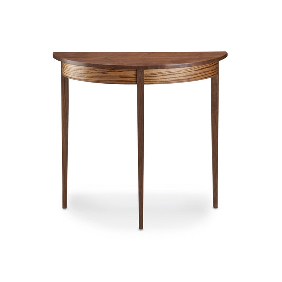 Thomas William Furniture Demilune Black Walnut Side Table, Artistic Artisan Designer Side Tables