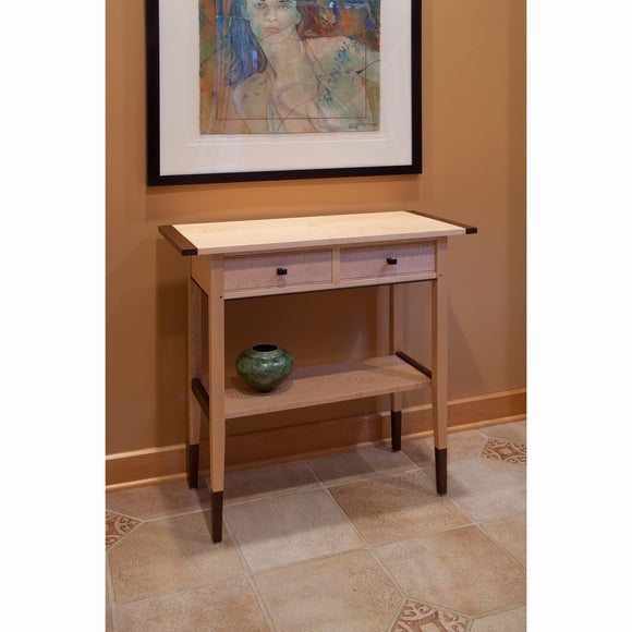 Thomas William Furniture Tiger Maple Two Drawer Hall Table, Artistic Artisan Designer Side Tables