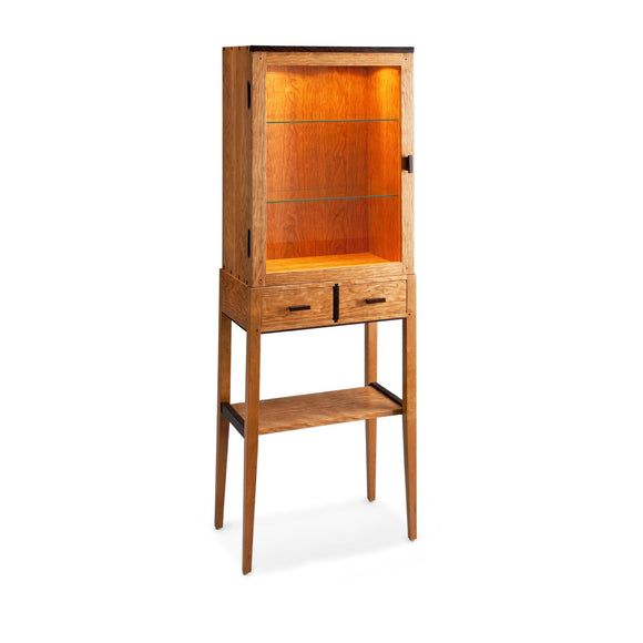 Thomas William Furniture Tall Cherry Display Cabinet, Artistic Artisan Designer Cabinets