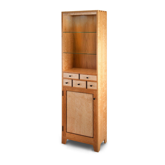 Thomas William Furniture Tom Dumke Curio Cupboard Birdseye Maple Wood 01a Shaker Style Keepsake Cabinets Furniture