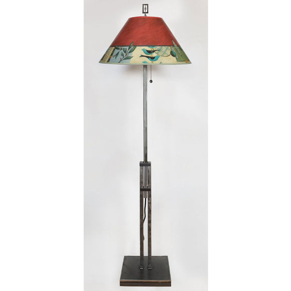 Ugone and Thomas Adjustable Height Steel Floor Lamp LG562-AS with Large Conical Shade