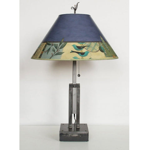 Janna Ugone and Co. Adjustable-Height Steel Table Lamp RLG562-AS with Large Conical Shade