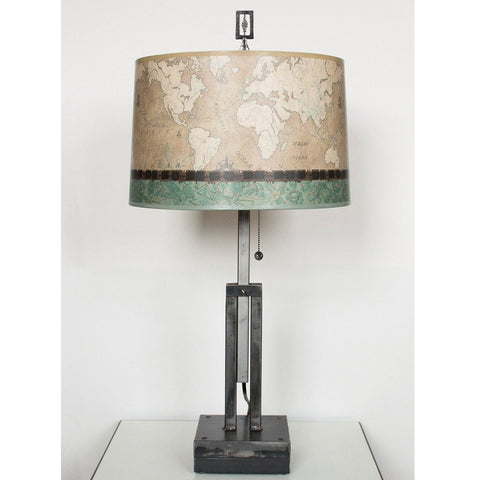 Janna Ugone and Co. Adjustable-Height Steel Table Lamp RLG862-AS with Large Drum Shade