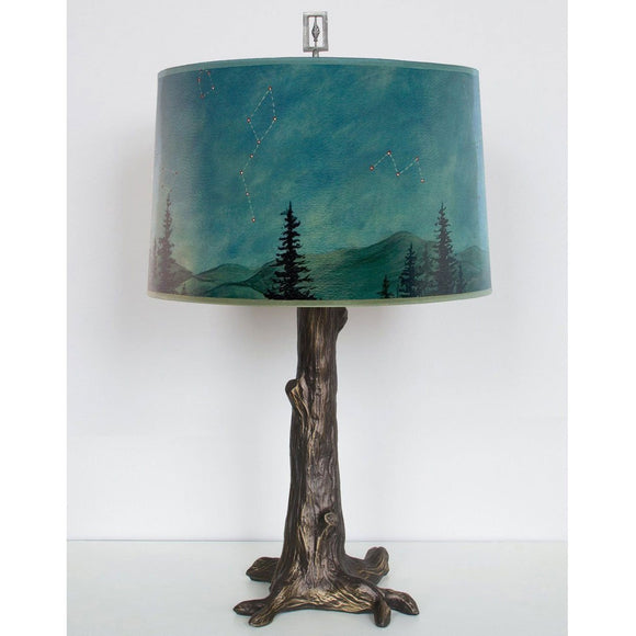 Ugone and Thomas Bronze Tree Table Lamp RLG862-TR with Large Drum Shade