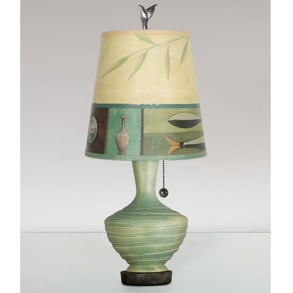 Ugone and Thomas Ceramic Base Table Lamp PLG750-P in Jade with Small Drum Shade