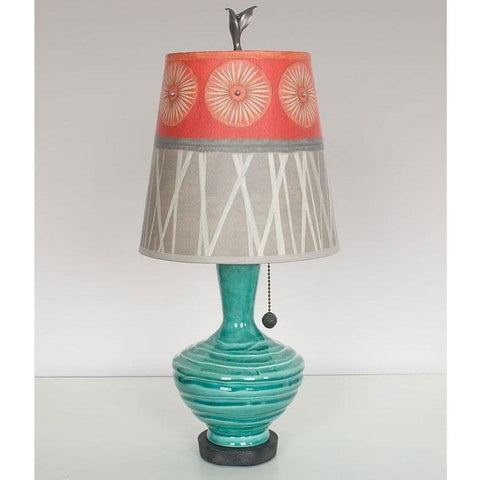 Janna Ugone and Co. Ceramic Base Table Lamp PLG750-P in Pool with Small Drum Shade