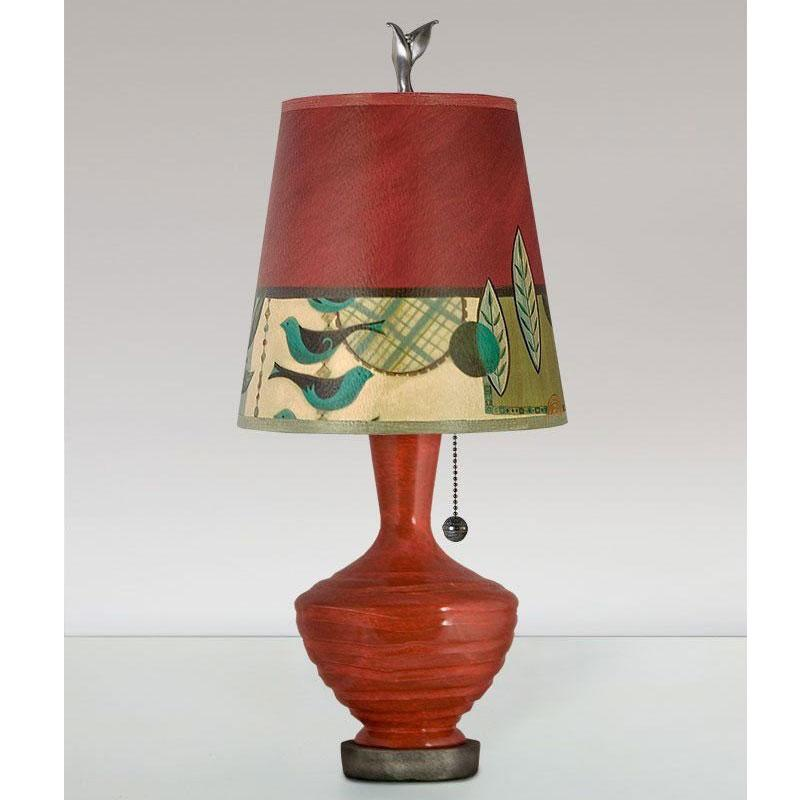 Janna Ugone Ceramic Base Table Lamp Plg750 P In Red With Small Drum