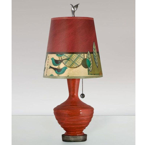 Janna Ugone and Co. Ceramic Base Table Lamp PLG750-P in Red with Small Drum Shade