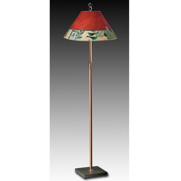 Janna Ugone and Co. Copper Floor Lamp FLG562-C with Large Conical Shade