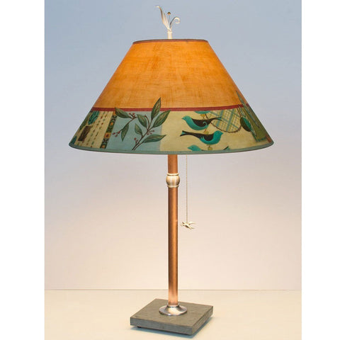 Marvelous Copper Table Lamp RLG562 C With Large Conical Shade By Ugone And Thomas