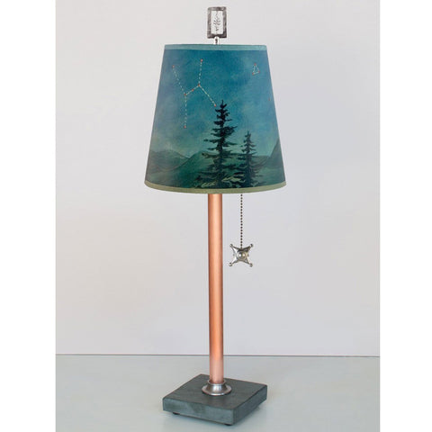 Copper Table Lamp RLG740 C With Small Drum Shade By Ugone And Thomas