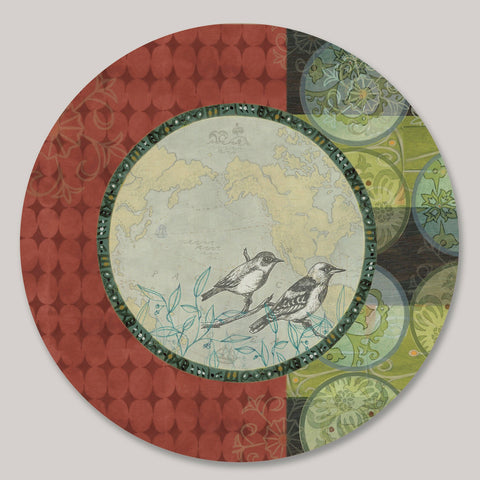 Janna Ugone and Co. Lazy Susan in Twin Bird LAZ PRP Artistic Artisan Designer Lazy Susans