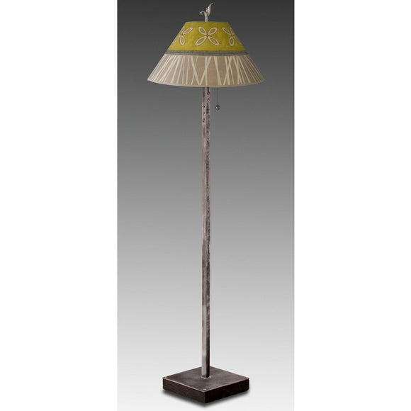 Janna Ugone and Co. Steel Floor Lamp FLG562-ST on Wood with Large Conical Shade