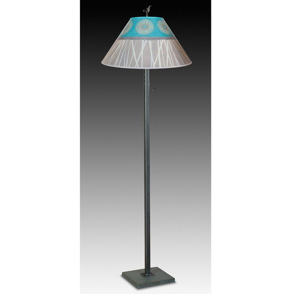 Janna Ugone and Co. Steel Floor Lamp FLG562-STM on Marble with Large Conical Shade