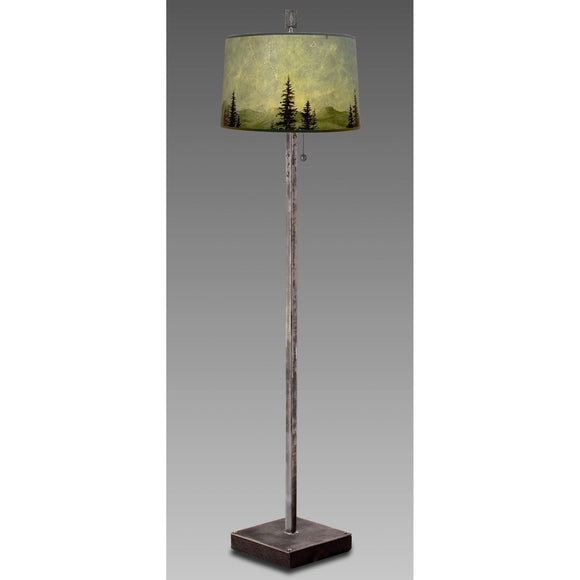 Janna Ugone and Co. Steel Floor Lamp FLG862-ST on Wood with Large Drum Shade