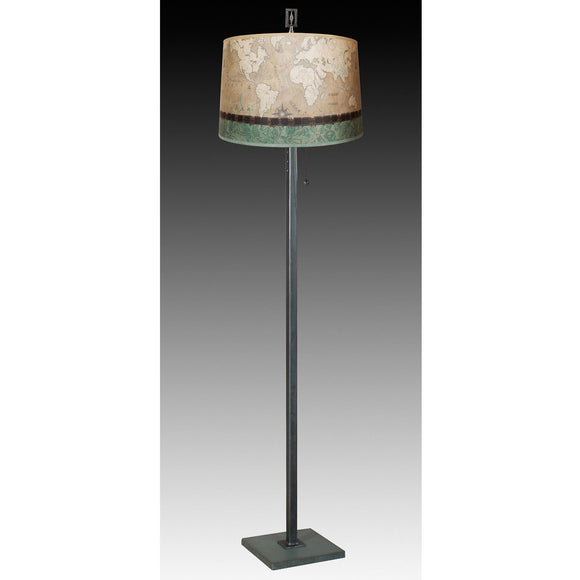 Janna Ugone and Co. Steel Floor Lamp FLG862-STM on Marble with Large Drum Shade