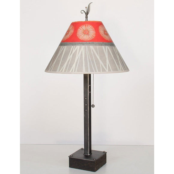 Janna Ugone and Co. Steel Table Lamp RLG162-ST on Wood with Medium Conical Shade