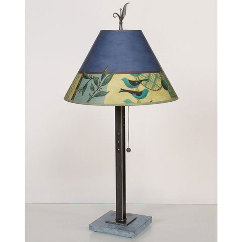 Janna Ugone and Co. Steel Table Lamp RLG162-STM on Marble with Medium Conical Shade
