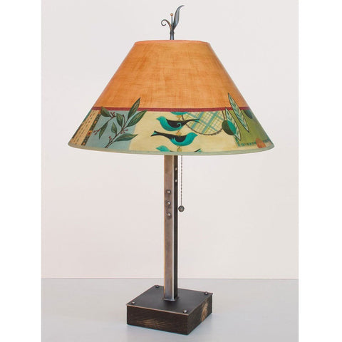 Janna Ugone and Co. Steel Table Lamp RLG562-ST on Wood with Large Conical Shade