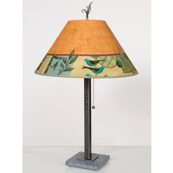 Janna Ugone and Co. Steel Table Lamp RLG562-STM on Italian Marble Base with Large Conical Shade