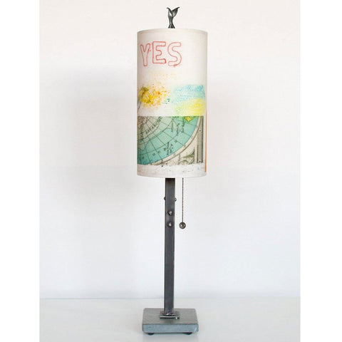 Janna Ugone and Co. Steel Table Lamp RLG720-STM on Marble with Small Tube Shade