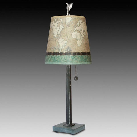 Janna Ugone and Co. Steel Table Lamp RLG740-STM on Marble with Small Drum Shade