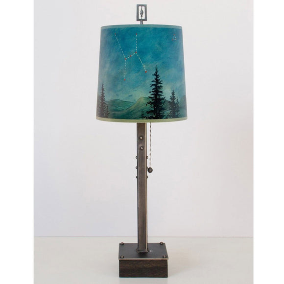 Janna Ugone and Co. Steel Table Lamp RLG810-ST on Wood with Medium Drum Shade