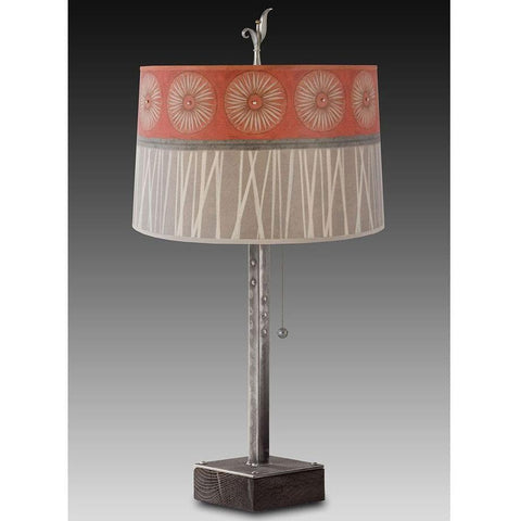 Janna Ugone and Co. Steel Table Lamp RLG862-ST on Wood with Large Drum Shade