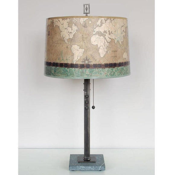 Janna Ugone and Co. Steel Table Lamp RLG862-STM on Marble with Large Drum Shade