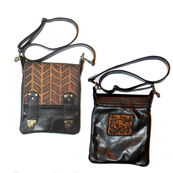 Urban Gypsy Design Leeds Handbag in Herringbone Print and Black Oak Color, Artisan Designer Handbags