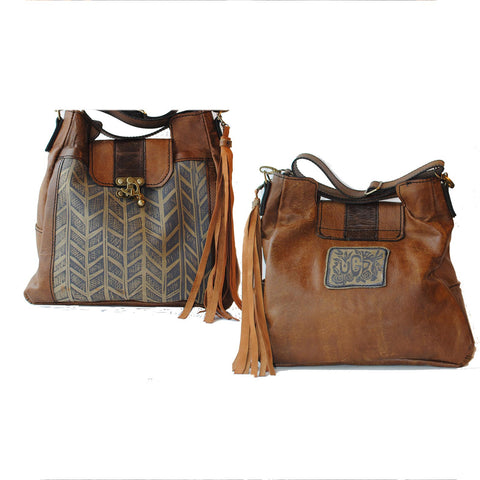 Urban Gypsy Design London Tote Handbag in Herring Bone Print and Montana Buckskin Color Artisan Designer Handbags