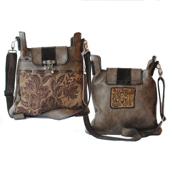 Urban Gypsy Design Madrid Crossbody Handbag in Peony Print and Smoky Mountain Color Artisan Designer Handbags