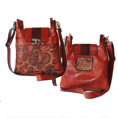 Urban Gypsy Design Madrid Crossbody Handbag in Rose Print and Terracotta Color Artisan Designer Handbags