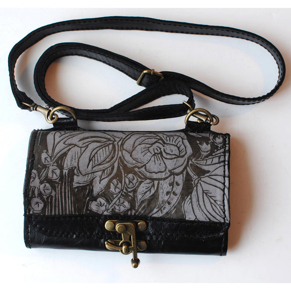 Urban Gypsy Design Oxford Clutch Handbag in Peony Print and Restoration Black Color Artisan Designer Handbags