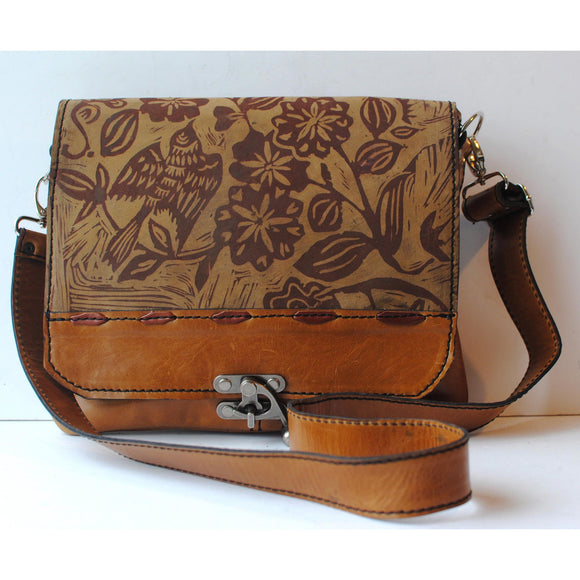 Urban Gypsy Design Uptown Messenger Handbag in Sparrow Print and Distressed Gold Color Artisan Designer Handbags