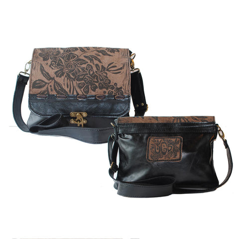 Urban Gypsy Design Uptown Messenger in Rose Print and Smoky Mountain Color