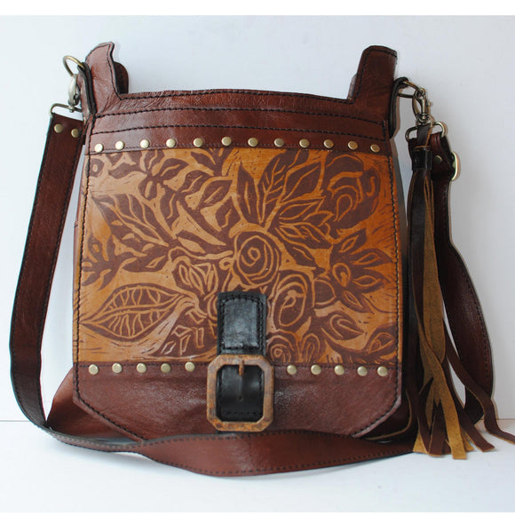 Urban Gypsy Design Urban Satchel Handbag in English Print and Tennesee Whiskey Color, Artistic Artisan Designed Handbags