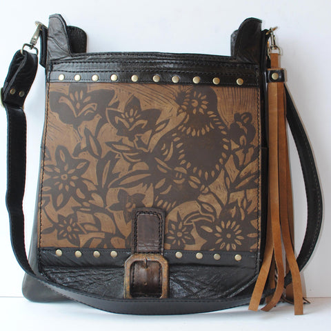 Urban Gypsy Design Urban Satchel Handbag in Finch Print and Black Distress Color, Artisan Designer Handbags