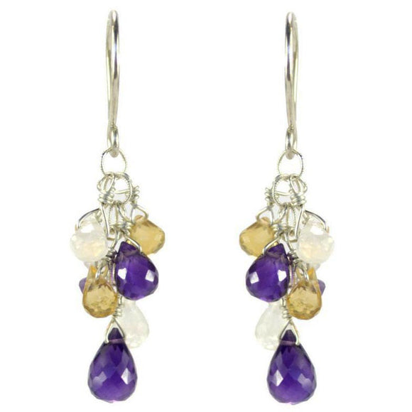 Vannucci Design by Justine Amethyst Moonstone and Citrine Gemfall Earrings EO054