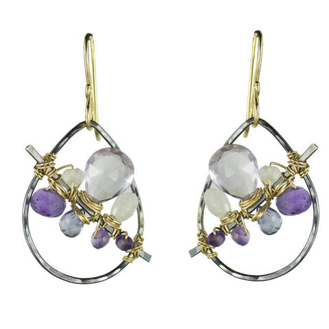 Vannucci Design by Justine Amethyst Pink Amethyst Iolite and Moonstone Janthina Earrings EO071