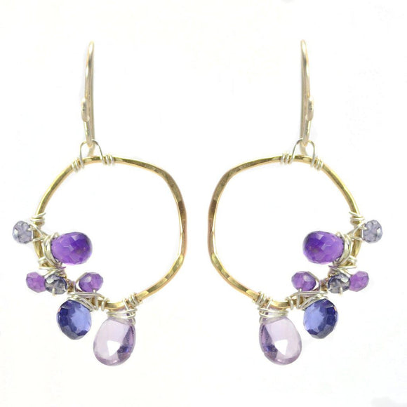 Vannucci Design by Justine Amethyst Pink Amethyst and Iolite Radiant Orchid Earrings EO009