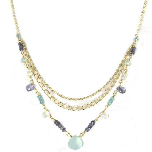 Vannucci Design by Justine Chalcecony Moonstone and Iolite Beweled Triple Tier Necklace NM2061