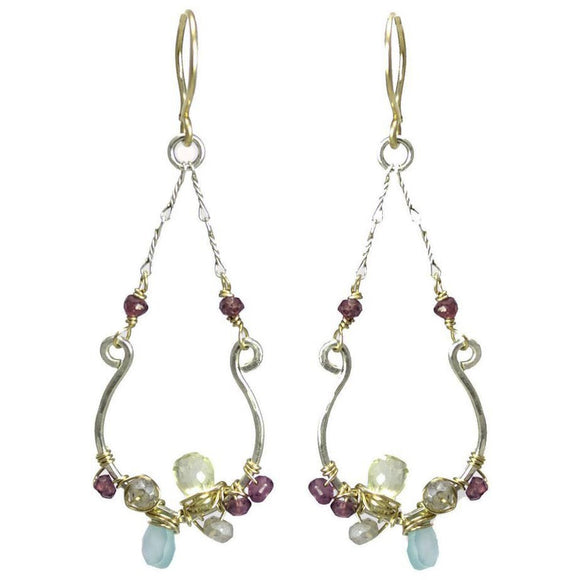 Vannucci Design by Justine Chalcedony Lemon Topaz Citrine Rhodolite Garnet and Labradorite Signature Earrings EL007