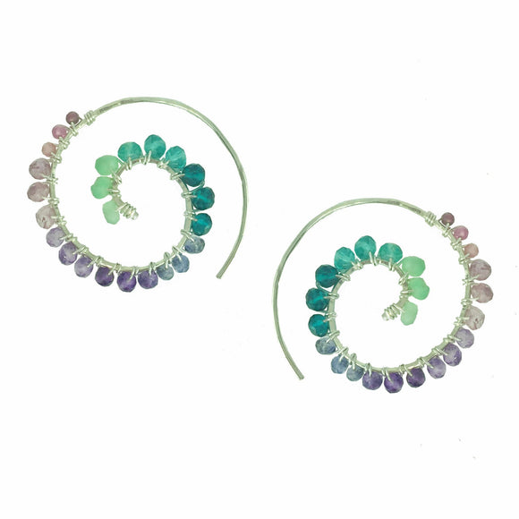 Vannucci Jewelry by Justine Chrysoprase Teal Quartz Amethyst Pink Amethyst Tourmaline Earrings E001UNI