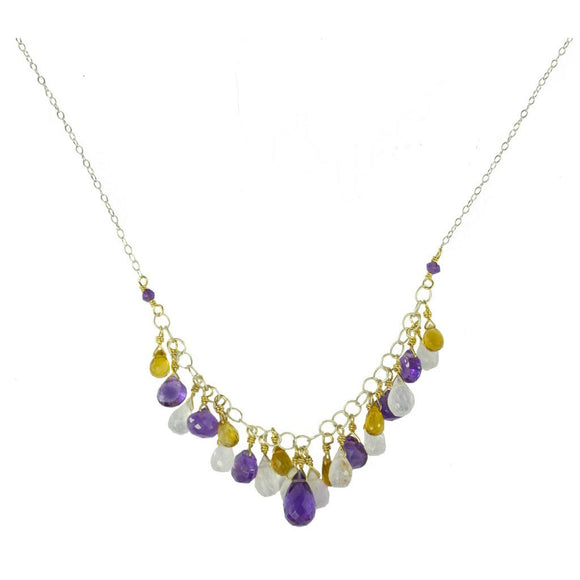 Vannucci Design by Justine Citrine Amethyst and Moonstone Gemfall Necklace NO2056
