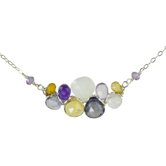 Vannucci Design by Justine Citrine Pink Amethyst Amethyst and Moonstone Gemstone Pendant Wrap Necklace NO2055