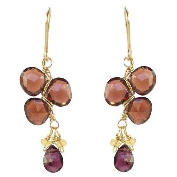 Vannucci Design by Justine Garnet Citrine and Rhodalite Garnet Licorice Earrings EL036