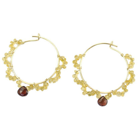 Vannucci Design by Justine Garnet and Citrine Scallops Earrings EL037
