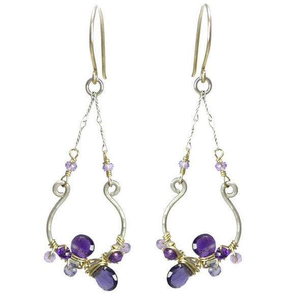 Vannucci Design by Justine Iolite Amethyst and Pink Amethyst Horseshoe Pendant Earrings in Purples EO023